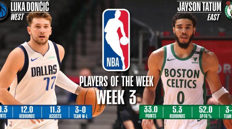 Luka Doncic (Mavericks) y Jayson Tatum (Celtics) - Tercera semana 2020/21