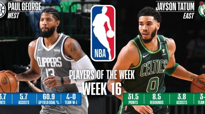 Paul George (Clippers) y Jayson Tatum (Celtics) - Decimosexta semana 2020/21