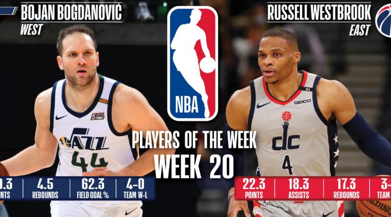 Bojan Bogdanovic (Jazz) y Russell Westbrook (Wizards) - Vigésima semana 2020/21